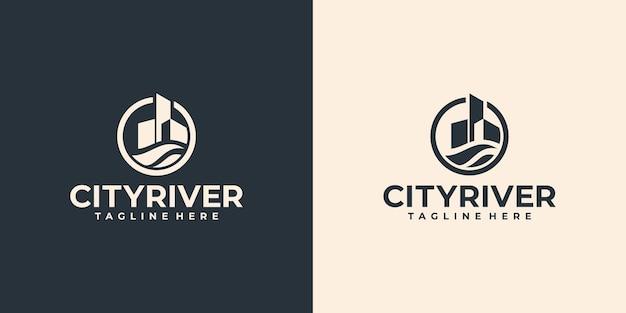 Kreatywne logo rzeki miasta, budynek z logo symbolu wody