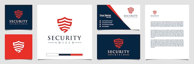 Kreatywne logo tarczy bezpieczeństwa z wizytówką logo w stylu linii i papier firmowy