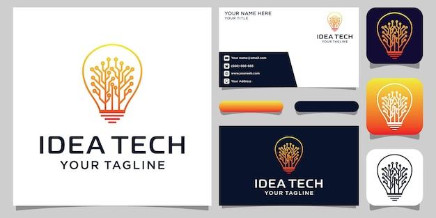 Kreatywne logo tech żarówki i projekt wizytówki. pomysł kreatywna żarówka z koncepcją technologii. idea technologii cyfrowego logo żarówki