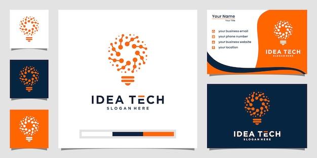 Kreatywne logo tech żarówki i projekt wizytówki. pomysł kreatywna żarówka z koncepcją technologii.