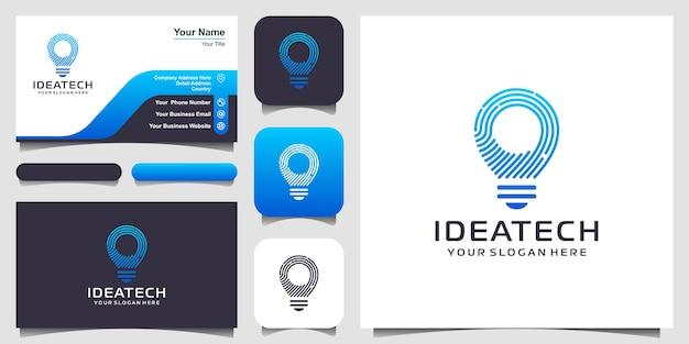 Kreatywne logo tech żarówki i projekt wizytówki.