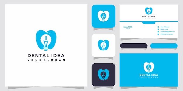 Kreatywne logo technologii dentystycznej i projekt wizytówki. kreatywne pomysły na żarówki