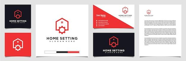 Kreatywne logo ustawień domu z wizytówką i papierem firmowym w stylu sztuki linii