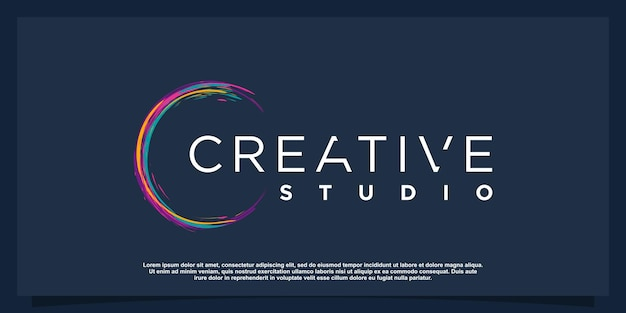 Kreatywne logo z koncepcją kolorowego pędzla premium wektor część 1
