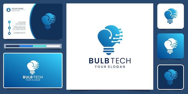 Kreatywne logo żarówki łączy koncepcję technologii kropki. nowoczesny design dla twojej firmy, cyfrowy.