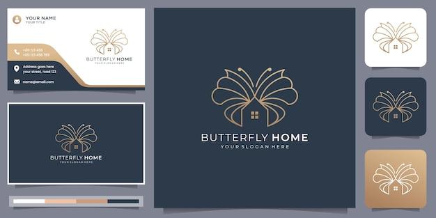 Kreatywne minimalistyczne logo motyla łączy szablon projektu domu z wizytówką.