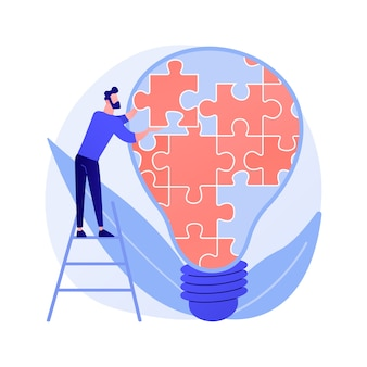 Kreatywne myslenie. oryginalna sugestia, niestandardowa decyzja, rozwiązanie problemu. człowiek z postacią z kreskówki duża żarówka. innowacyjny rozwój.