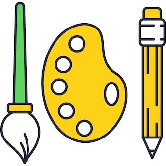 Kreatywne narzędzia projektowania wektor ikona na białym