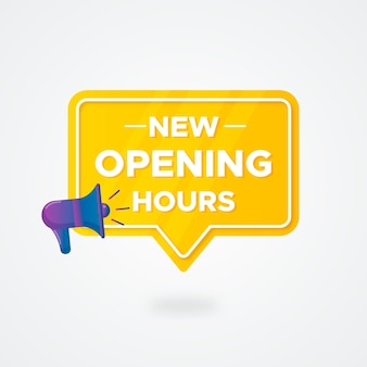 Kreatywne nowe godziny otwarcia są wyświetlane w gradiencie