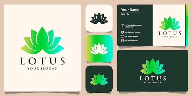 Kreatywne nowoczesne kolorowe logo kwiatu lotosu i projektowanie wizytówek