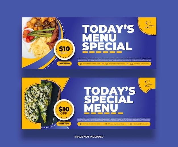 Kreatywne nowoczesne menu specjalny baner żywności w restauracji dla mediów społecznościowych