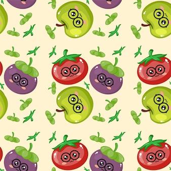 Kreatywne owoce emotikon wzór tła