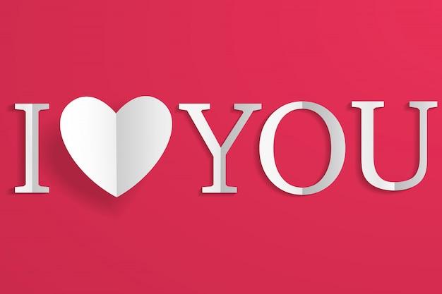 Kreatywne papierowe białe serce i napis kocham cię na czerwono