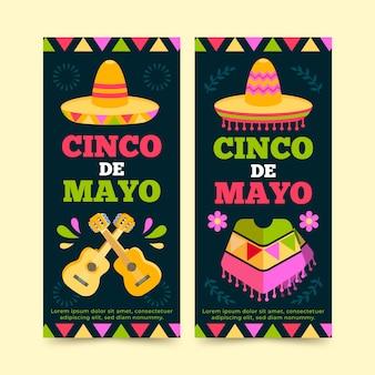 Kreatywne płaskie pionowe banery cinco de mayo