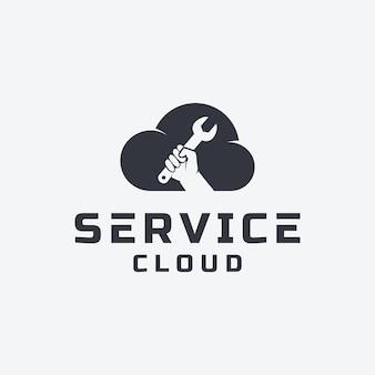 Kreatywne połączenie projektowania logo usługi w chmurze