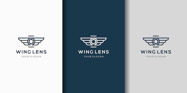 Kreatywne połączenie skrzydła aparatu i logo obiektywu