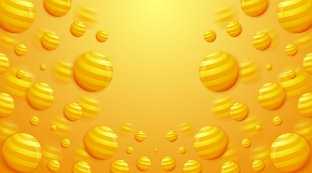 Kreatywne pomarańczowe realistyczne kule żółte kulki geometryczne cząstki transparent