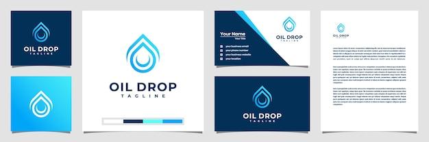 Kreatywne projektowanie logo kropli oleju, z wizytówką logo w stylu linii i nagłówkiem