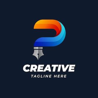 Kreatywne projektowanie logo litery p w kształcie pióra