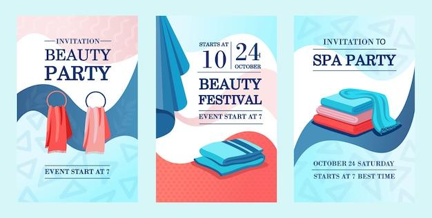 Kreatywne projekty zaproszeń promocyjnych z ręcznikami. zaproszenie promocyjne na festiwal piękności z tekstem. koncepcja spa i relaksu. szablon ulotki, banera lub ulotki