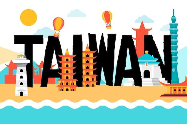 Kreatywne słowo tajwan z różnymi zabytkami