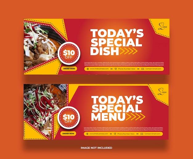 Kreatywne specjalne danie restauracji w mediach społecznościowych po banerach promocyjnych