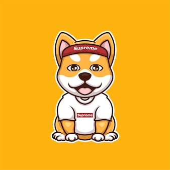 Kreatywne supreme doge shiba inu cartoon logo