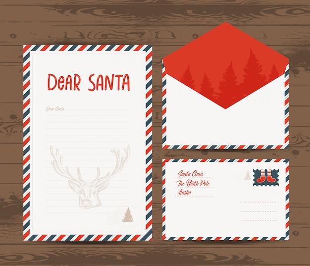 Kreatywne szablon list boże narodzenie i koperty