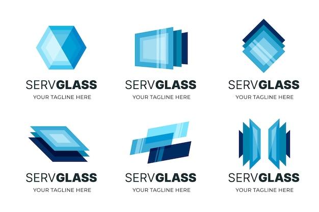 Kreatywne szablony logo płaskiej konstrukcji szklanej
