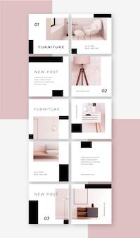Kreatywne szablony plików puzzli na instagram