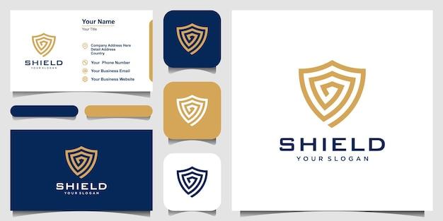 Kreatywne tarcza koncepcja logo szablony projektów. ikona i wizytówka