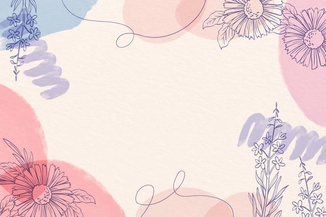 Kreatywne tło akwarela z rysowane kwiaty