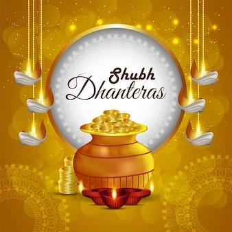 Kreatywne tło dhanteras, festiwalu indii, z błyszczącymi monetami i garnkiem