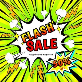 Kreatywne tło sprzedaż flash w stylu komiksu