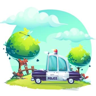 Kreatywne tło z ilustracji samochodu policyjnego