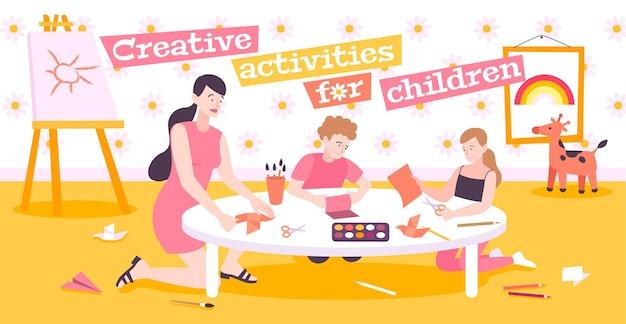 Kreatywne zajęcia dla dzieci płaska ilustracja z mamą uczącą dzieci robienia origami z papieru