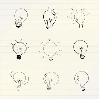 Kreatywne żarówki doodle kolekcja wektor
