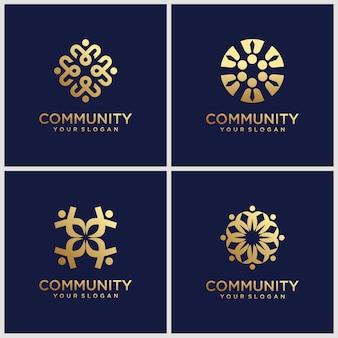Kreatywne złote symbole pracujące w zespole i współpracujące. ten szablon logo może reprezentować jedność i solidarność w grupie lub zespole ludzi.