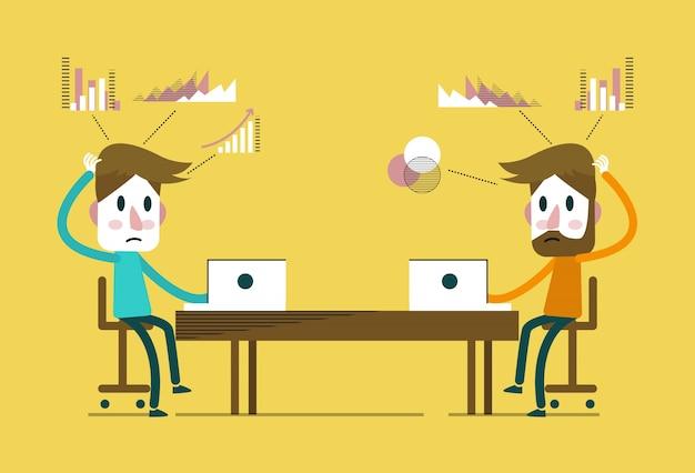 Kreatywni ludzie pracujący w biurze pracy. płaskie elementy