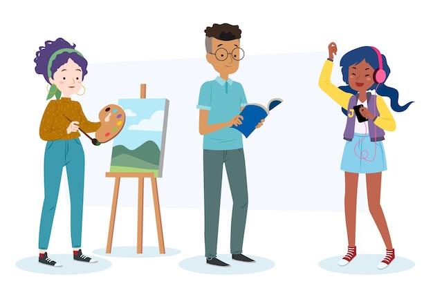 Kreatywni ludzie tworzący nowoczesne dzieła sztuki