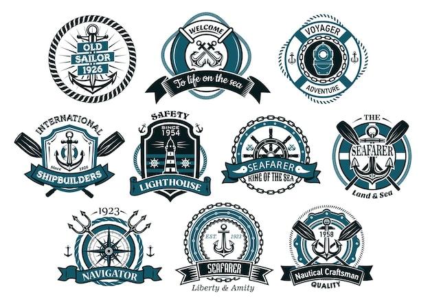 Kreatywni marynarze lub żeglarskie logo i banery z liną, kotwicą, trójzębem, hełmem, łańcuchami, boją ratunkową i wiosłem