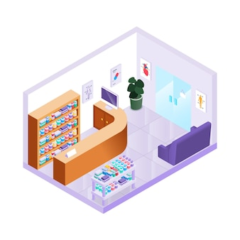 Kreatywnie ilustrowana izometryczna apteka