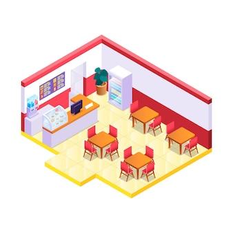 Kreatywnie ilustrowana izometryczna restauracja