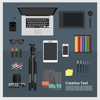 Kreatywnie narzędziowa workspace odosobniona wektorowa ilustracja