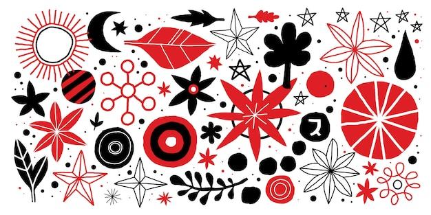 Kreatywnie szablon z kwiatami i abstrakcjonistycznymi elementami