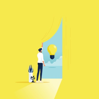 Kreatywność biznesowa i znalezienie koncepcji wektora rozwiązania z biznesmenem otwierającym kurtyna próbuje zdobyć nowe pomysły