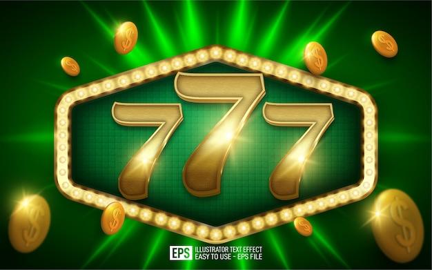 Kreatywny 3d numer 777, edytowalny szablon efektu stylu