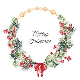 Kreatywny akwarela wieniec bożonarodzeniowy z pozdrowieniami