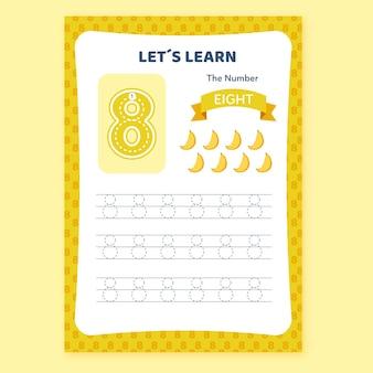 Kreatywny arkusz roboczy numer osiem z bananami