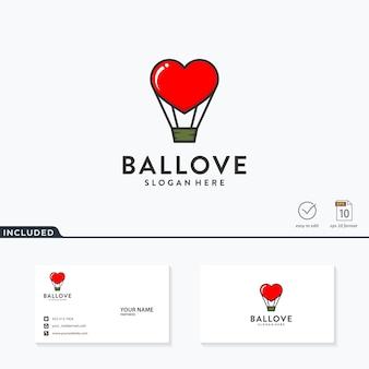 Kreatywny balon i miłość logo szablon